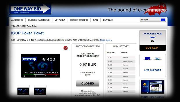 Martedi 31 ore 23 Vinci il Ticket con 0,1cent