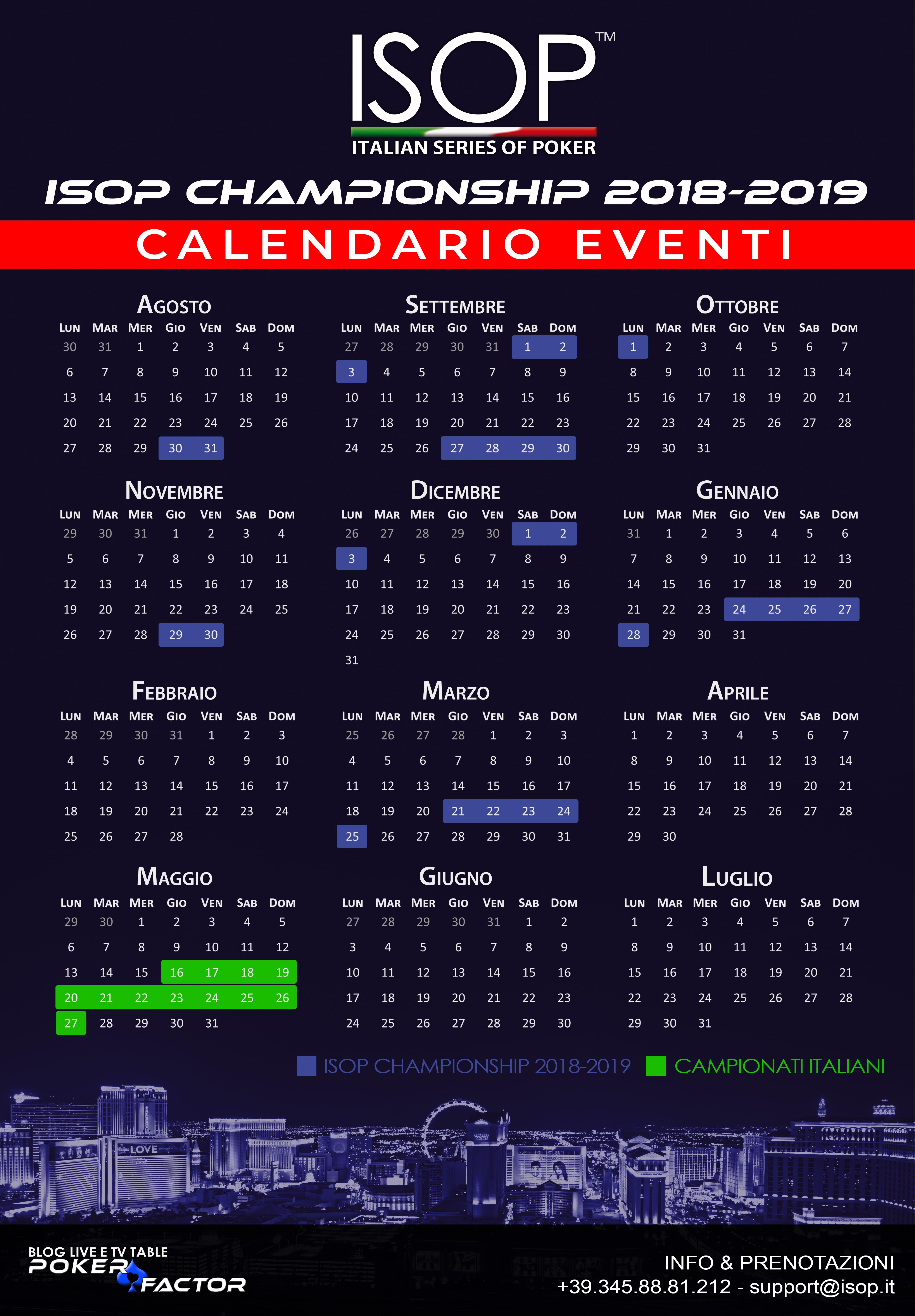 calendario eventi isop championship 2018-2019